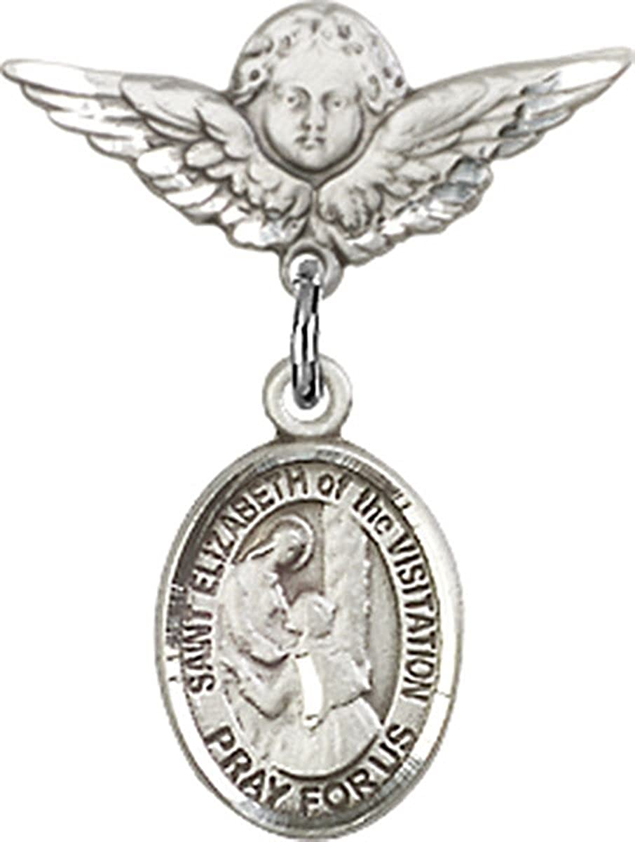 Sterling Silver Baby Badge Cherub Angel Pin with Charm 3//4 Inch