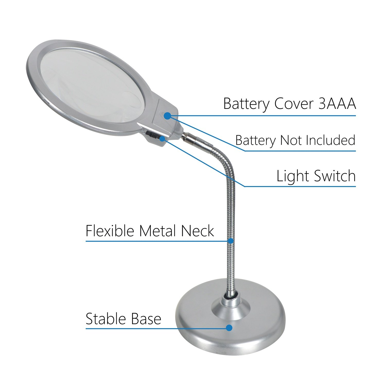 ... 2 x 5 x lupa de sobremesa con 2 LED lámpara y lentes Jumbo de 5,5 pulgadas, mejor lupa de manos libres con luz para hobby, manualidades, inspección, ...