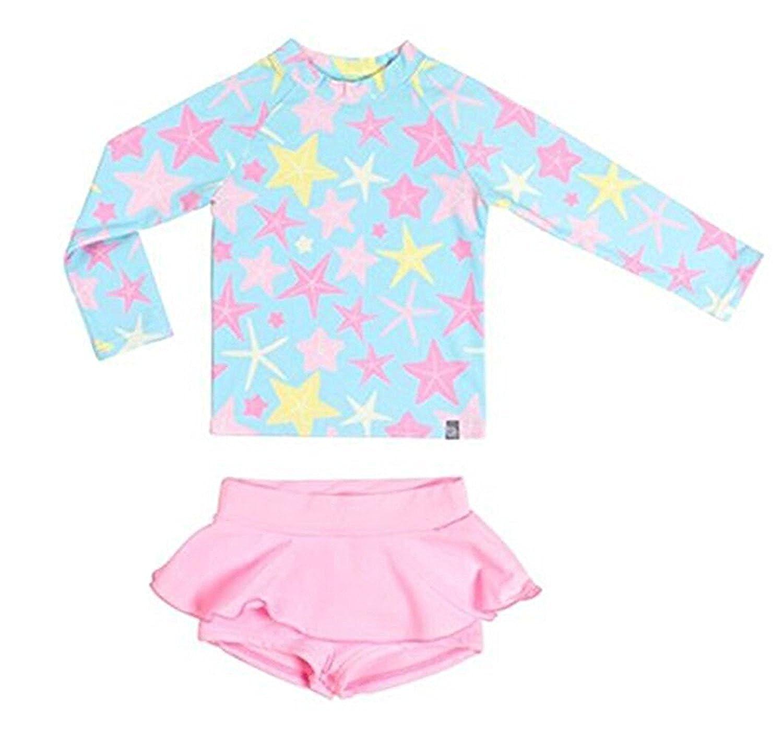 Baby Kids Girls Two-Pieces Long Sleeve Stripe Rash Guard UV Swimsuit Sun Protetion Beachwear Swimwear Set