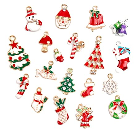 Hanging Christmas Decorations To Make.Itemer Set Of 19 Mini Christmas Charms Pendants Jewelry Making Accessories Christmas Bauble Set Multi Colored Enamel Hanging Christmas Tree