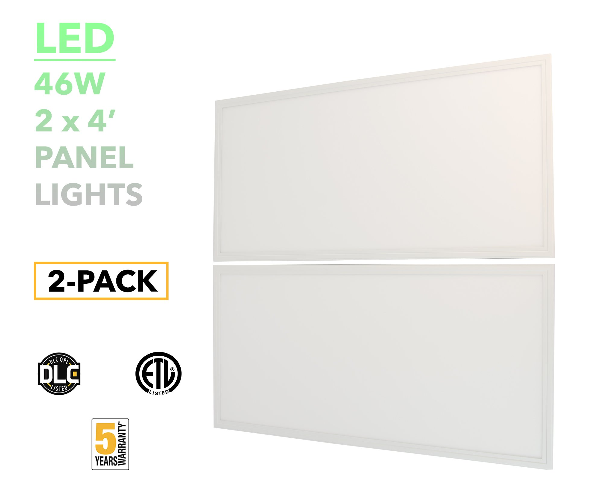 American Greenpower USA LED 2x4 Panel Light Troffer, 46W 4000K, Dimmable, 125lm/w Efficiency, DLC Premium 4.2, (2-PACK)