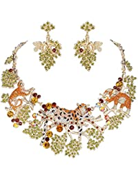 Gold-Tone Austrian Crystal Forest Leopard Elephant Jewelry Set Brown