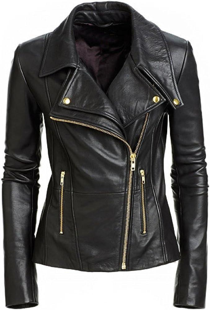 Leather Lifestyle Women's Stylish Lambskin Genuine Leather Motorcycle Biker Jacket Black #WJ26
