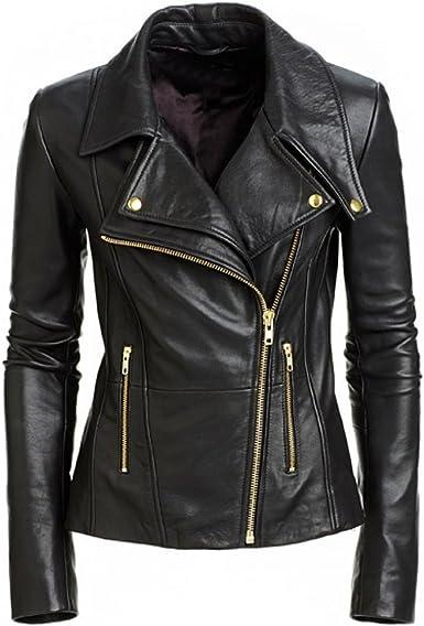 Leather Lifestyle Womens Lambskin Leather Bomber Biker Motorcycle Stylish Black Jacket #WJ03