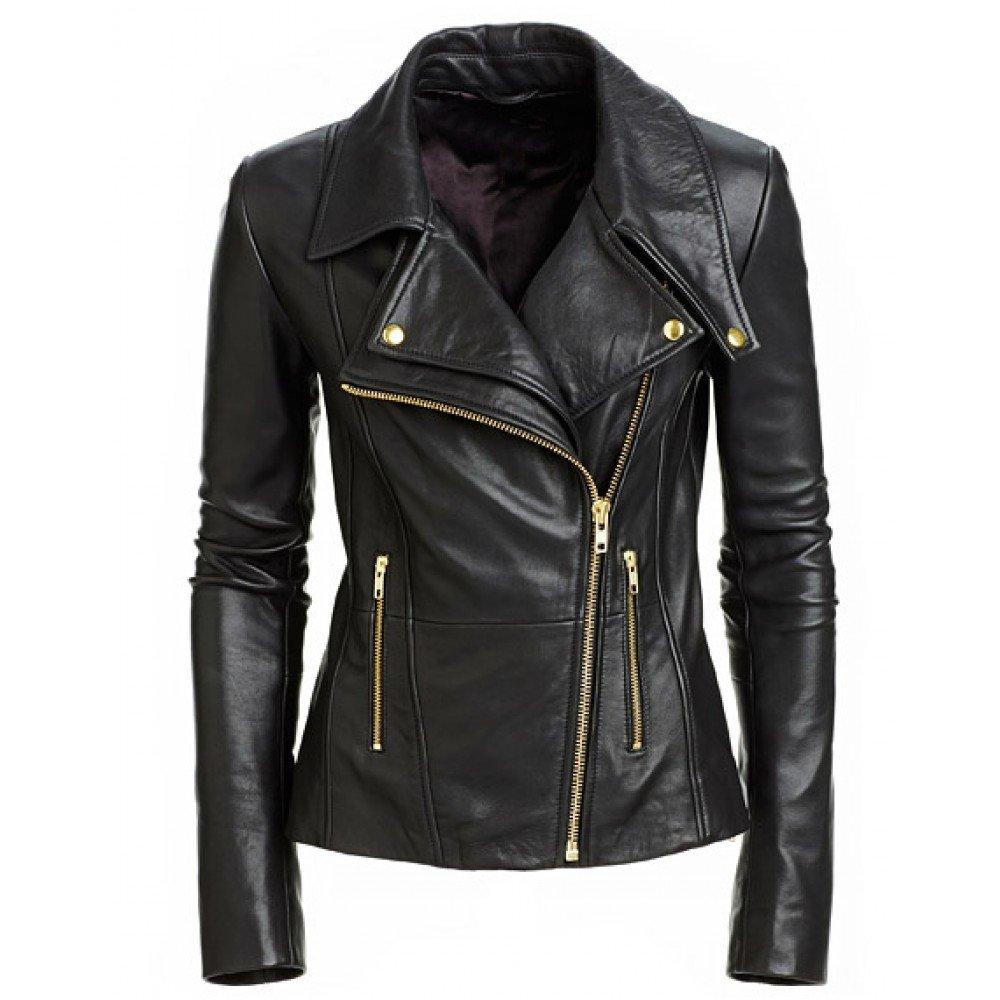 Leather Lifestyle Womens Stylish Lambskin Genuine Leather Motorcycle Biker Jacket Black #WJ26