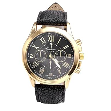 Dressin Womens Geneva Watch, Ladies Fashion Geneva Roman Numerals Faux Leather Strap Analog Quartz Wrist