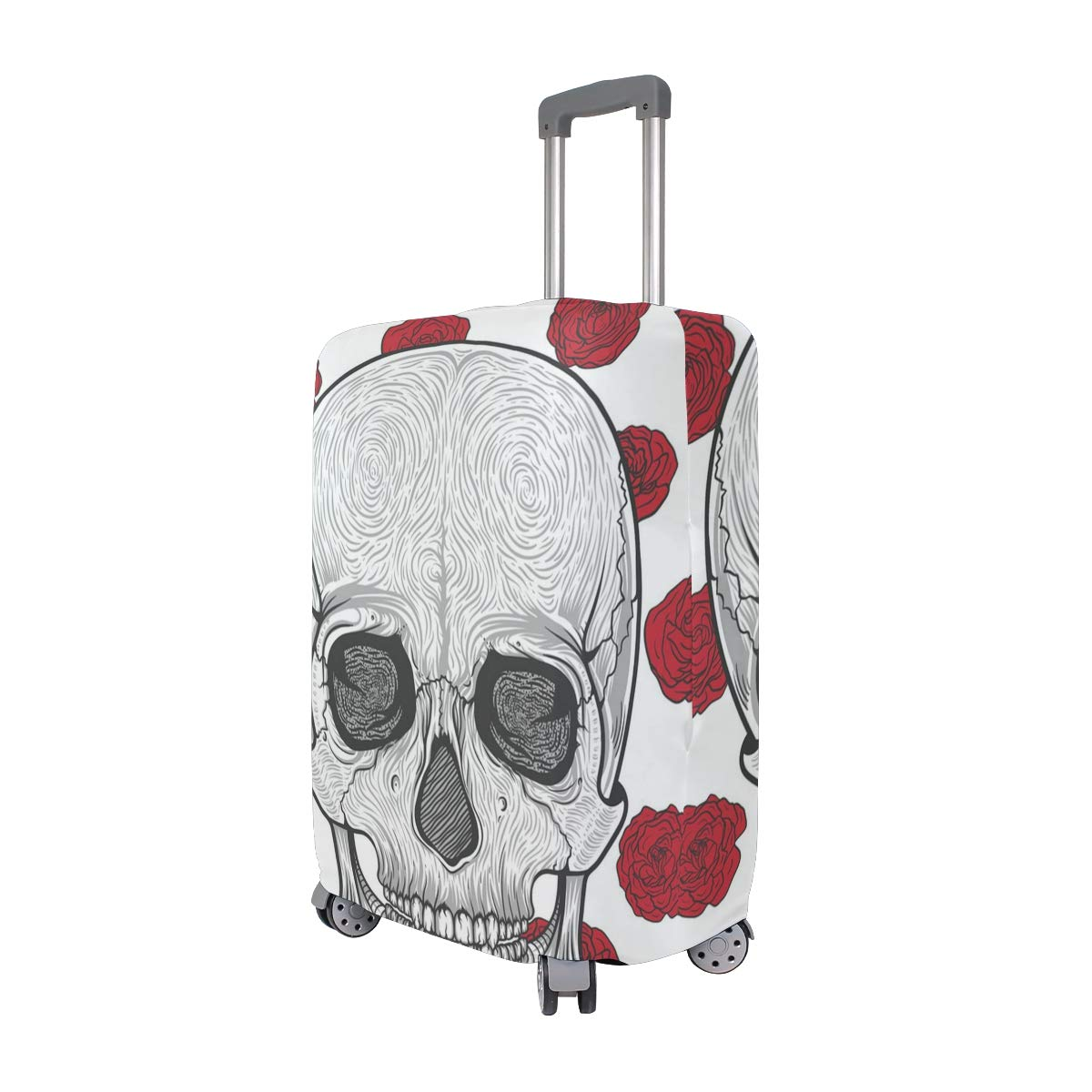 A Skull Red Rose Traveler Lightweight Rotating Luggage Protector Case Can Carry With You Can Expand Travel Bag Trolley Rolling Luggage Protector Case