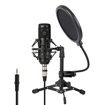 ZINGYOU Condenser Microphone ZY-801+, Professional Studio Microphone  Include Sound Card, Desktop Cardioid Condenser Mic, PC Recording and