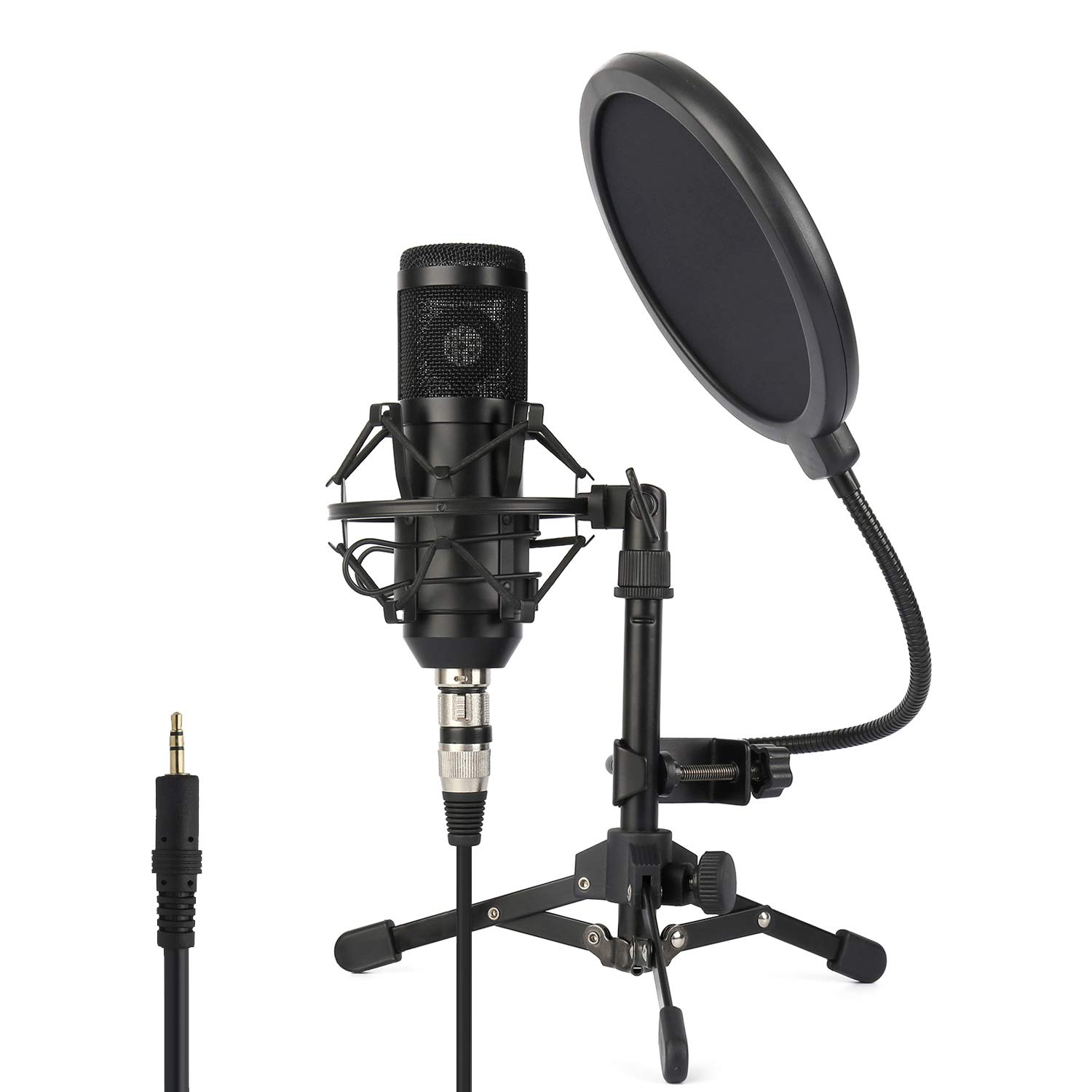 ZINGYOU Condenser Microphone ZY-801+, Professional Studio Microphone include Sound Card, Desktop Cardioid Condenser Mic, PC Recording and Broadcasting(Matte Black)