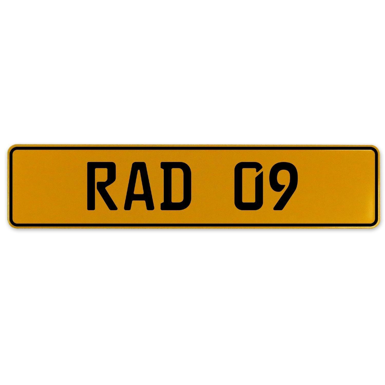 Vintage Parts 558962 Yellow Stamped Aluminum European Plate RAD 09