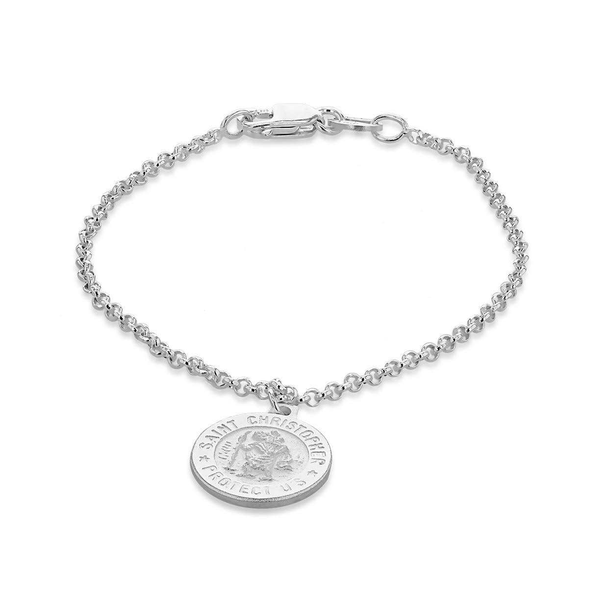 Sterling Silver Saint Christopher Charm 5.5'' Bracelet