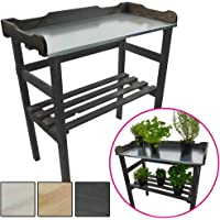 PROHEIM Table de rempotage/Jardinage 82 x 78 x 38 cm - Table de Jardin pour Pots de Fleurs en Bois FSC® impregné et Surface de Travail en métal galvanisé
