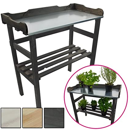 Étagère pour plantes / Table pour jardin 82 x 78 x 38 cm - Bois FSC®  impregné et surface de travail en métal galvanisé, Couleur:Anthracite