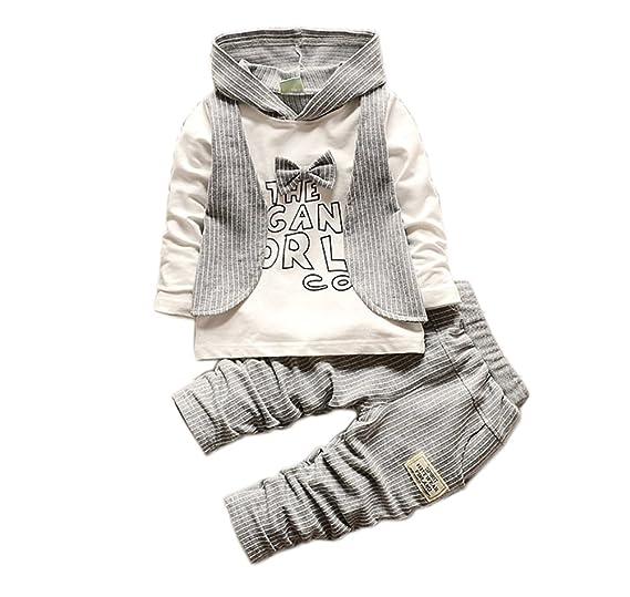 cb71d0d42fcb JIANLANPTT Infant Baby Boys Hoodie Tops Long Pants 2pc Outfits Set Vertical  Stripes Clothes Grey 2