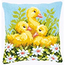 Cross Stitch Cushion: Ducklings with Daisies I