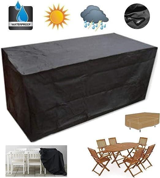 Do4U Funda para Mesa de jardín Muebles de jardín Cubre Impermeable Rectangular Juego de Mesa/Silla Cubierta para Patio al Aire Libre con protección UV Grande: Amazon.es: Jardín