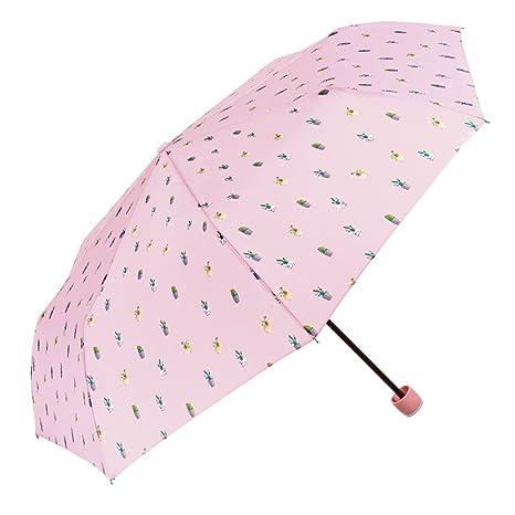 Paraguas Plegable Mujer - Mini Paraguas con Cactus Rosas - Resistente Compacto y Antiviento - 97