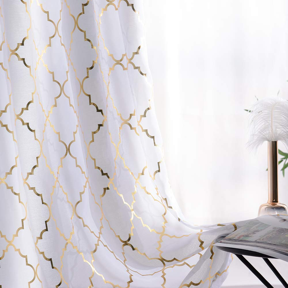 YJ YANJUN semi Voile Sheer Curtains Metallic Trellis Gold Foil Curtain Panel Kids Curtains for Girls Summery Romantic Vibe Set of 2 Panles, 52 x 84 inch