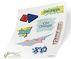 Chi Omega Themed Sticker Decal Laptop Water Bottle Car (Full Sheet - 90's)