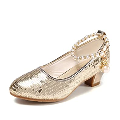 48d15ab5d46acf Amazon.com | CYBLING Girls Mary Jane Wedding Party Shoes Glitter Low Heels  Princess Dress Shoe (Toddler/Little Kid/Big Kid) | Flats