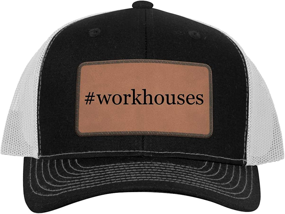 One Legging it Around #Workhouses Hashtag Leather Dark Brown Patch Engraved Trucker Hat