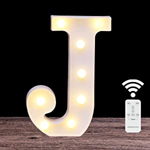 LED Marquee Letters with Lights Light Up 26 Alphabet Battery Powered Wall Decorative Lamp with Remote for Event Design and DIY Combination (letter J-Remote control)
