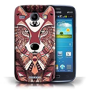 Kobalt® protector duro de nuevo caso / cubierta para el Samsung Galaxy Core | Lobo Roja Diseño | Aztec Animal Design colección