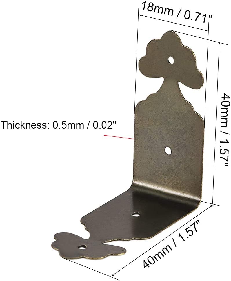 40mmx18mm Retro Furniture Corner Protector Angle Bracket Bronze Tone 8Pcs