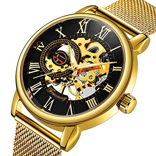 Caluxe Luxury Golden Mechanical Watch Men Skeleton Dial Mesh Stainless Strap Business Royal Design Wristwatch ()