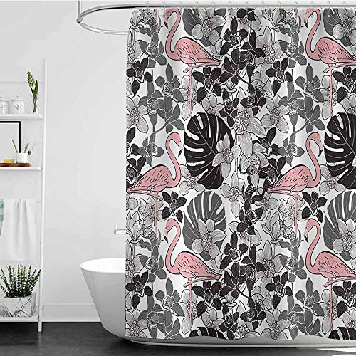shower curtains navy and grey Flamingo Decor Collection,A Pair of Flamingos Pattern with Big Leaves Flowers Tropical Plants on the Background,Black White Pink W48