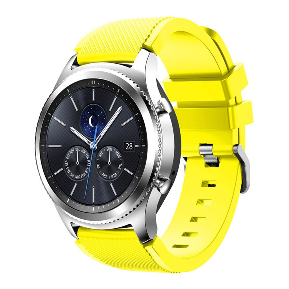 Compatible for Samsung Galaxy Watch Band 46mm, Gear S3 Band Silicone Strap Sport Wristband Replacement Band for Samsung Gear S3 Frontier/Gear S3 Classic Watch Band Bracelet Accessory (Yellow)