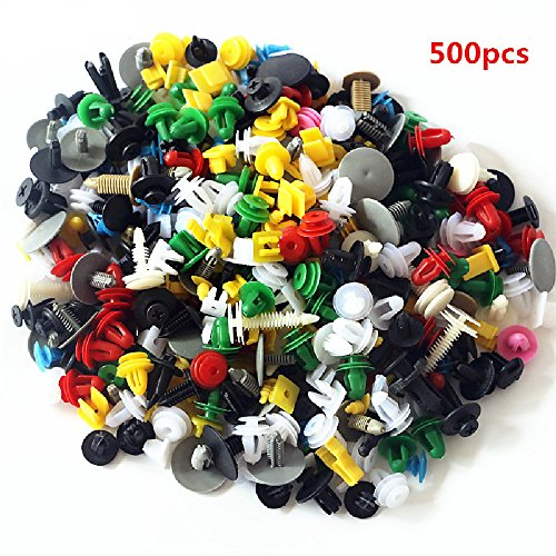 KANGQP 500PCS Universal Car Mixed Door Trim Panel Clips Fasteners Auto Bumper Rivet Retainer Push Engine Cover Fender Fastener Clips for All Cars