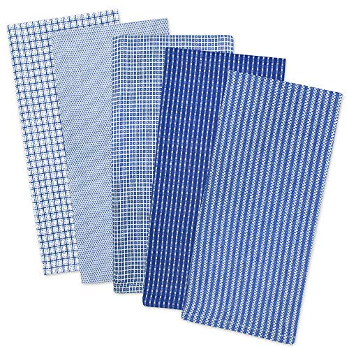 DII Cotton Oversized Dish Towels Kitchen Gift, 20x 30 Set of 5, Absorbent Kitchen Towels for Everyday Cooking and Baking- Blue
