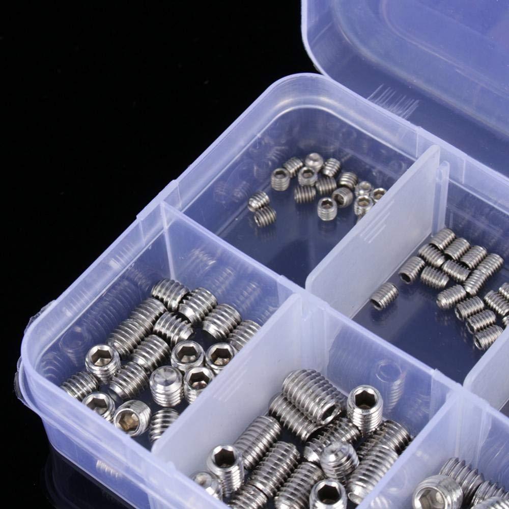 200 Pcs USPS M3 M4 M5 M6 M8 Hex Socket Set Stainless Steel Screws Assortment Kit