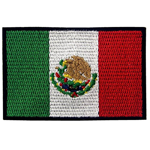 EmbTao Patches Mexico Flag Embroidered Mexican Applique Hook & Loop National ()