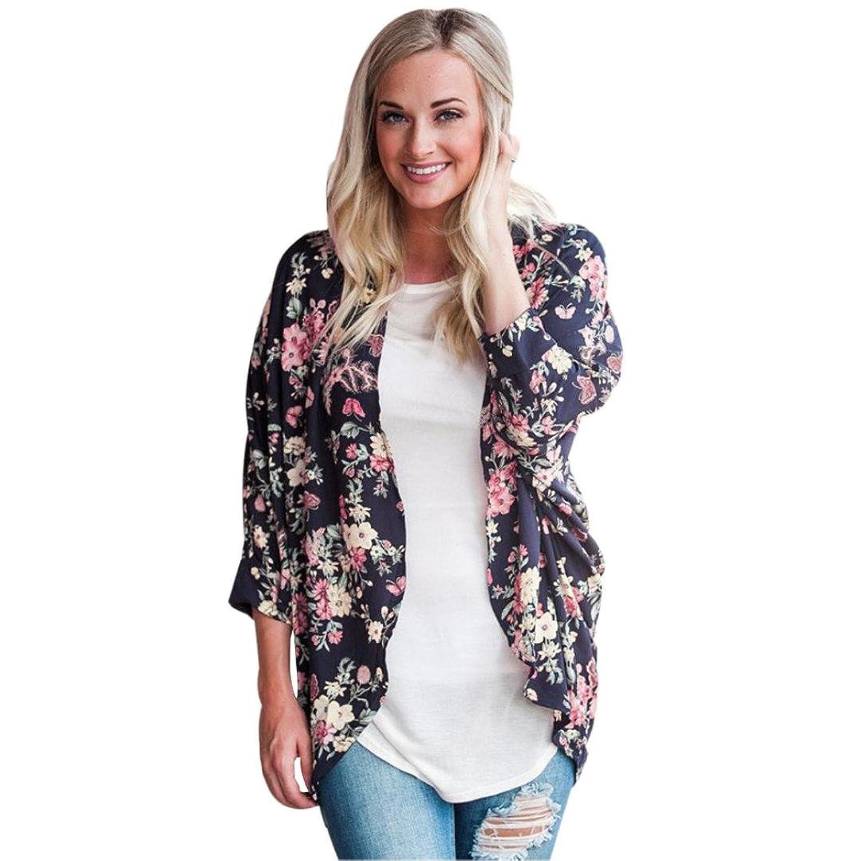 Vovomay Women Floral Print Irregular Loose Shawl Kimono Cardigan Top Cover up Blouse