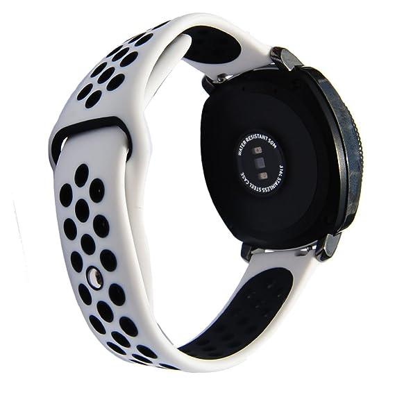 20mm Sport Silicone Strap for Ticwatch E & Ticwatch 2 S2 Classic SM-R732/SM-R735 Samsung Gear Sport Vivoactive 3 Rubber Band (White-Black)