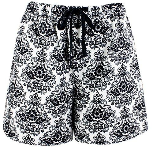 Leisureland Women's Pure Cotton Flannel Lounge Pajama Boxer Shorts Damask Print White (Medium) (Printed Boxer Cotton)