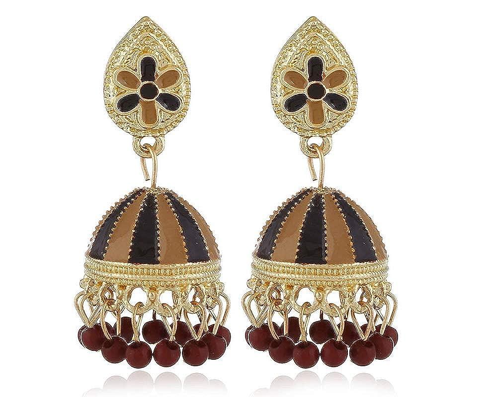 JOYID Elegant Royal Dangle Earrings Hot Air Balloon Shape Plastic Bead Tassel Earrings for Girls Women