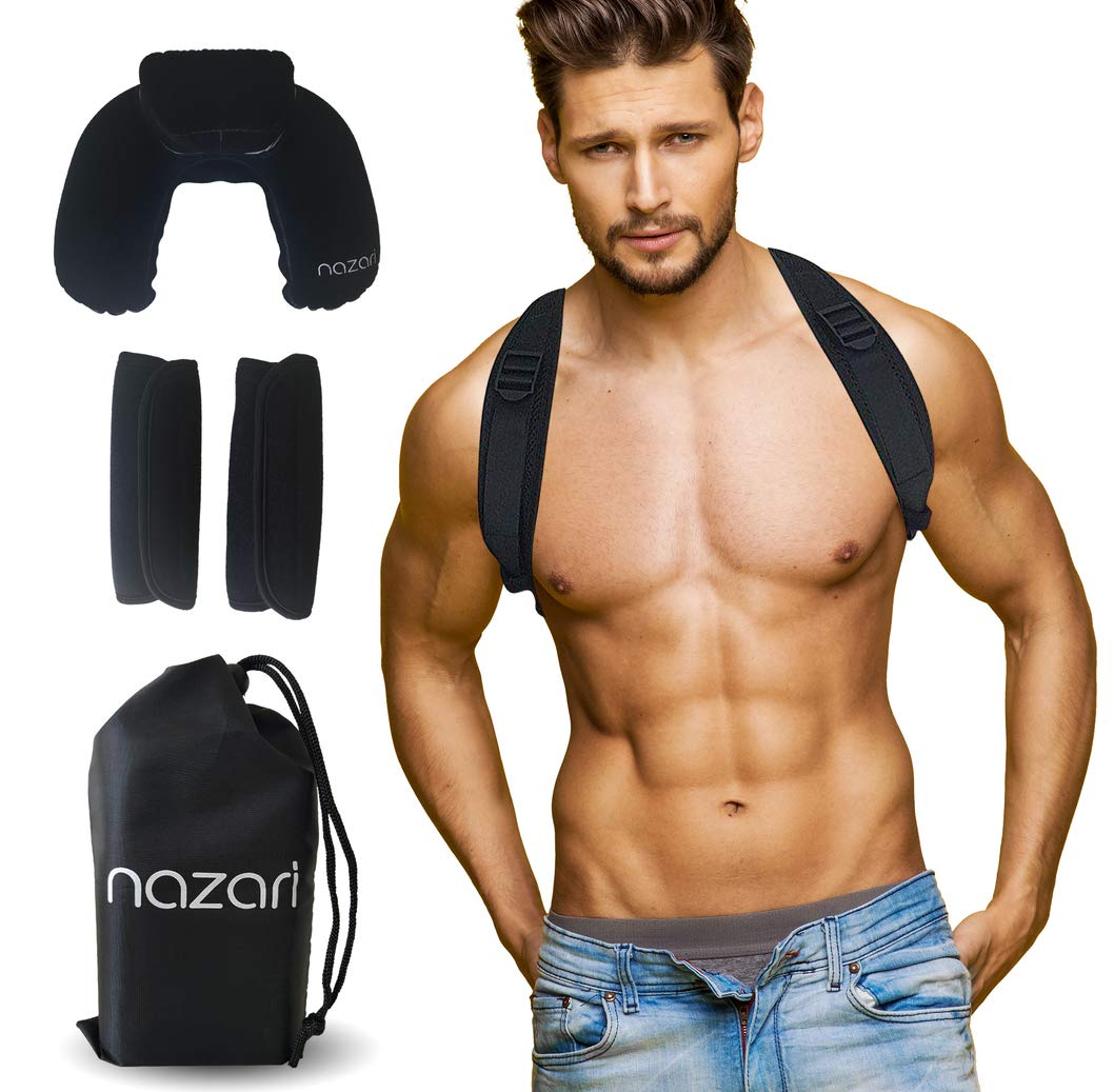 Nazari Posture Corrector for Women and Men - Adjustable Back Brace Support for Shoulder Back and Neck Pain Relief - Scoliosis Kyphosis and Clavicle Brace - Plus Neck Pillow and Travel Bag