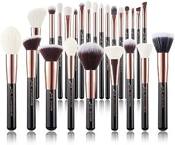 Jessup Brand 25pcs Professional Makeup Brush set Beauty Cosmetic Foundation Power Blushes eyelashes Lipstick Natural-Synthetic Hair Brushes set … (Black+Rose Gold)