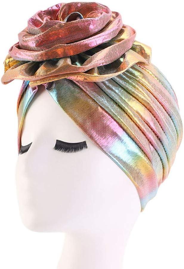 Tukistore Bonnet Turban en Laser Flower Femmes Bandana Turban Cheveux Musulman Cancer Couverture De T/ête Bonnet Laser Brillant Bonnet Chapeau Turban Chimio Perte de Cheveux