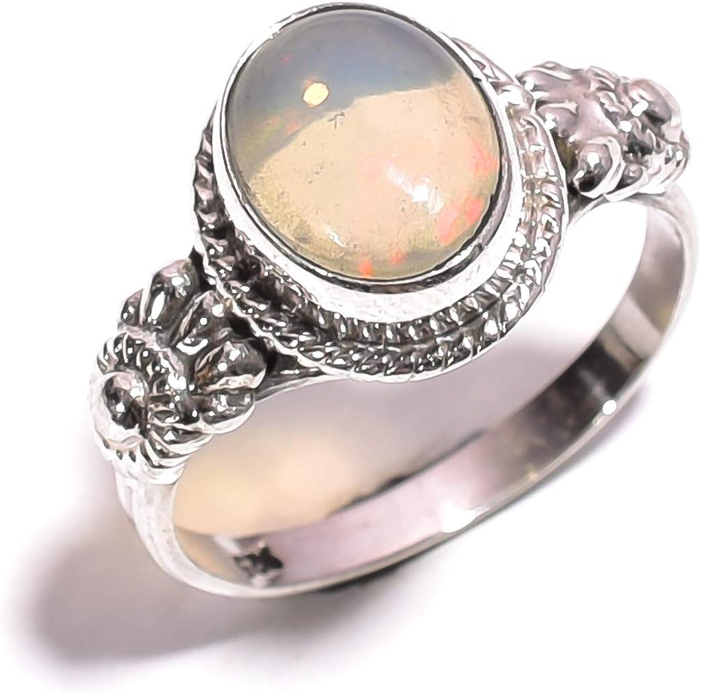 mughal gems & jewellery Anillo de Plata esterlina 925 Ópalo etíope Natural de la joyería de la Piedra Preciosa de la Piedra Preciosa para Las señoras 7 tamaño de los EEUU (ZR-686