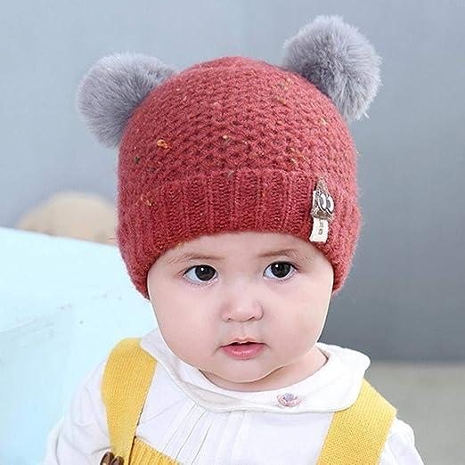Myzixuan Doble Bola de Invierno bebé Sombrero Caliente Lana Gorro bebé  Sombrero del oído de bebé de Punto Sombrero  Amazon.es  Jardín e7b4cc360ed
