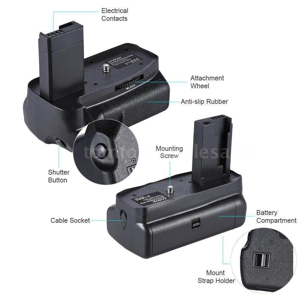 Vertical Battery Grip for Canon EOS 1100D 1200D 1300D/Rebel T3 T5 T6/kiss X50/70 by Unknown