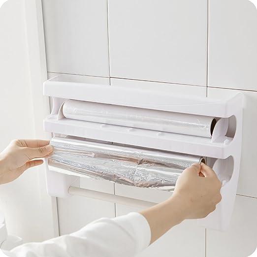 OUNONA Portarrollos de cocina de pared soporte para rollos de papel y película portarrollos cocina multifunción con almacenamiento de película: Amazon.es: Hogar