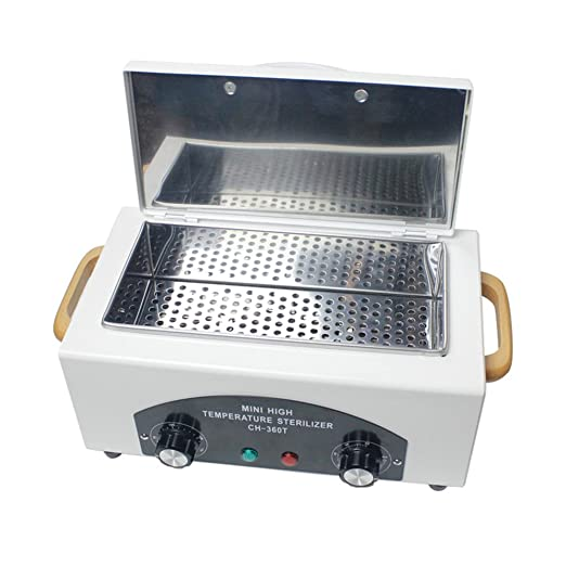 TOPQSC Esterilizador de calor seco para uñas, esterilizador profesional de alta temperatura, caja de esterilización para uñas, herramienta de uñas seca: ...
