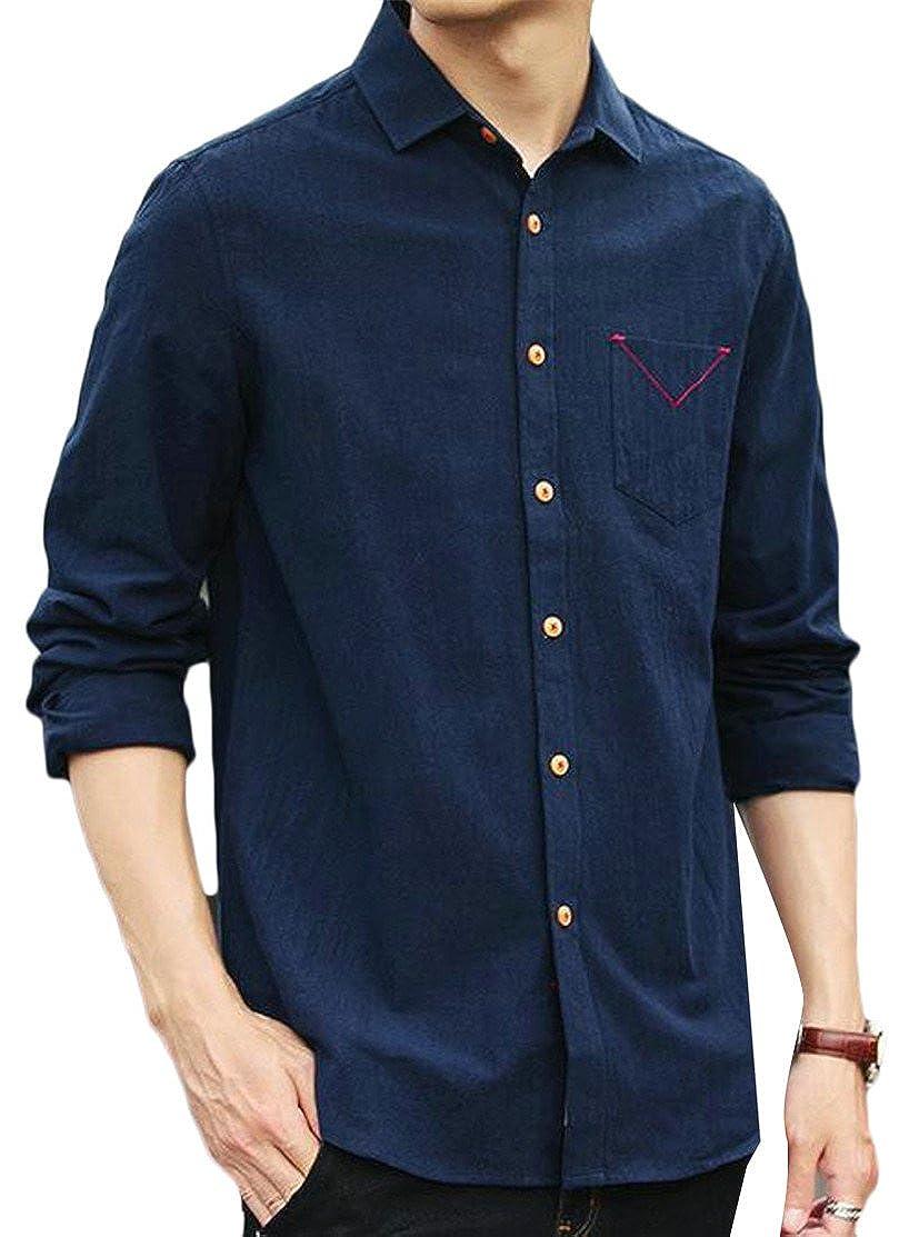 Hajotrawa Mens Long Sleeve Lapel Neck Curved Hem Comfortable Button Down Shirts