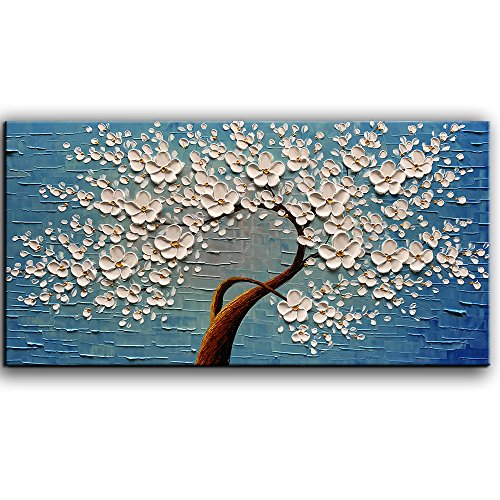 baccow White Oil Paintings 2448, 3D Abstract Wall Art White Blue Decor, Hand Painted Framed Trees Flower Canvas Painting Artwork, Texture Wall Painting for Living Room Dining Room Bathroom Office - Framed Original Art Oil Painting
