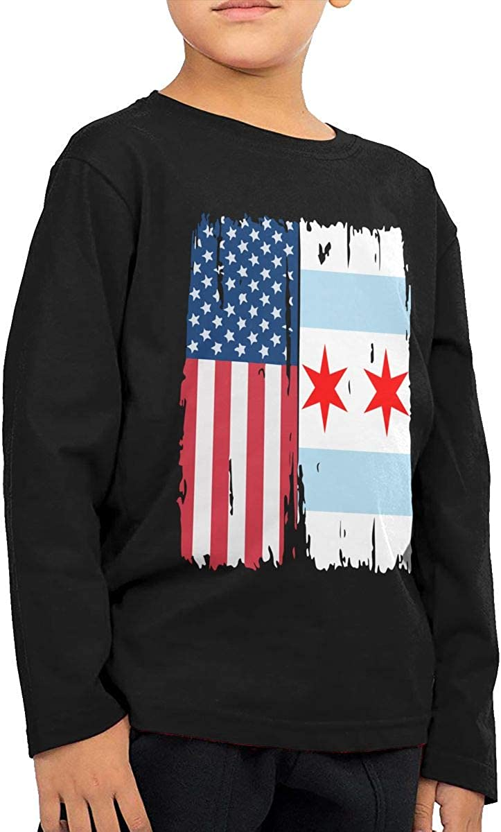 CERTONGCXTS Baby Boys Kids American Chicago Flag ComfortSoft Long Sleeve Shirt